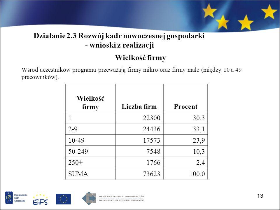 13 Wielkość firmy Wśród uczestników programu przeważają firmy mikro oraz firmy małe (między 10 a 49 pracowników).