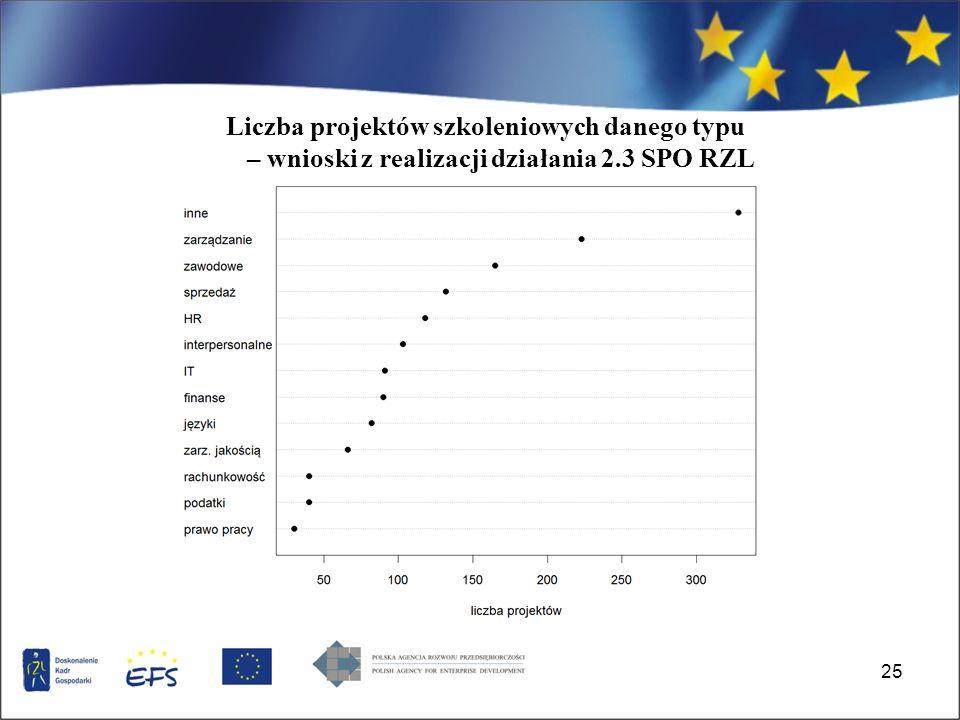 25 Liczba projektów szkoleniowych danego typu – wnioski z realizacji działania 2.3 SPO RZL