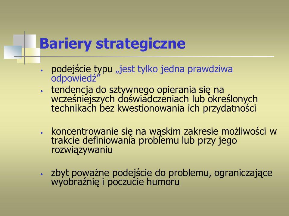 Bariery strategiczne podejście typu jest tylko jedna prawdziwa odpowiedź tendencja do sztywnego opierania się na wcześniejszych doświadczeniach lub ok