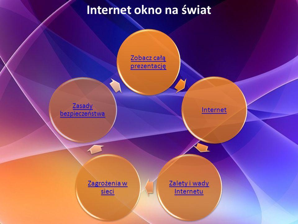 Internet – na początku używany przez amerykańskie wojsko, teraz to symbol najnowocześniejszej technologii, wkraczającej do mieszkań milionów właścicieli komputerów.