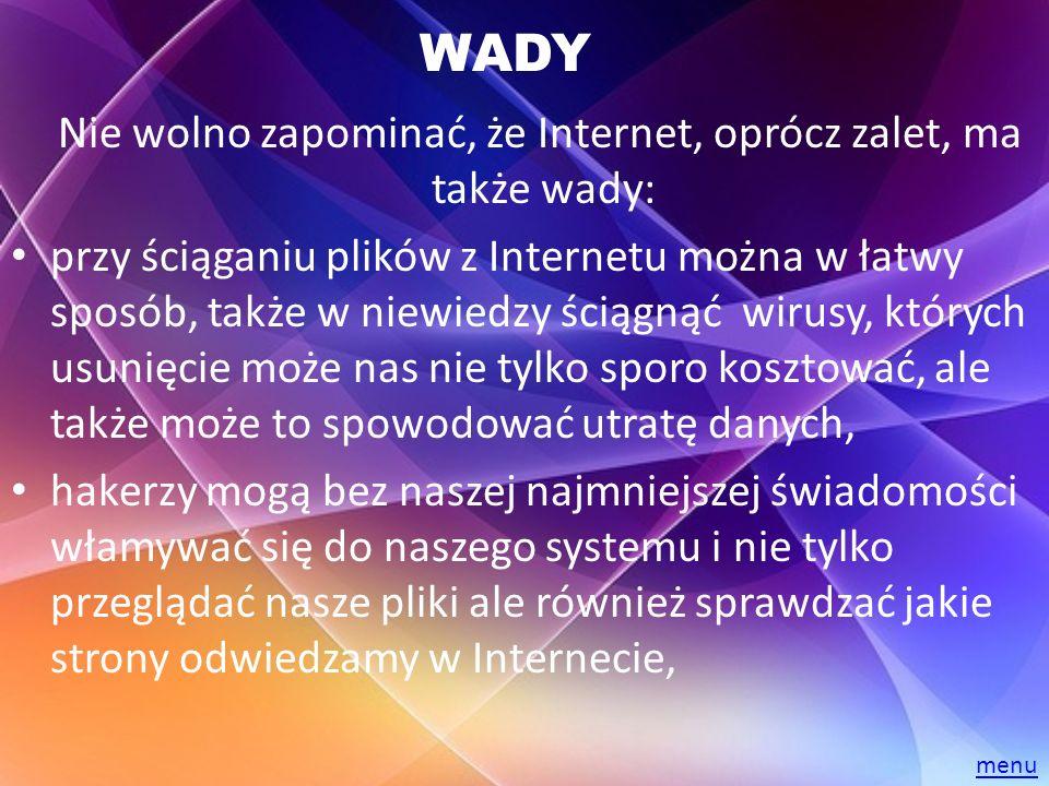 WADY Nie wolno zapominać, że Internet, oprócz zalet, ma także wady: przy ściąganiu plików z Internetu można w łatwy sposób, także w niewiedzy ściągnąć