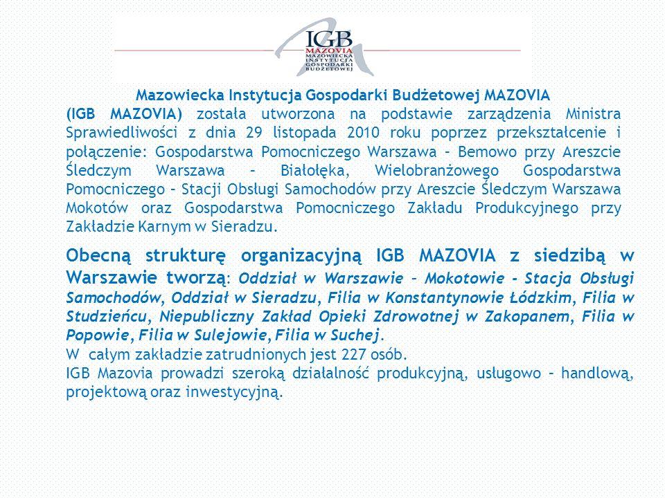 Mazowiecka Instytucja Gospodarki Budżetowej MAZOVIA (IGB MAZOVIA) została utworzona na podstawie zarządzenia Ministra Sprawiedliwości z dnia 29 listop