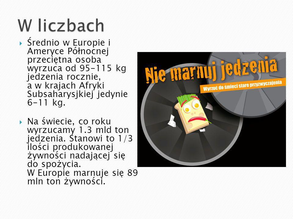 Średnio w Europie i Ameryce Północnej przeciętna osoba wyrzuca od 95-115 kg jedzenia rocznie, a w krajach Afryki Subsaharysjkiej jedynie 6-11 kg.