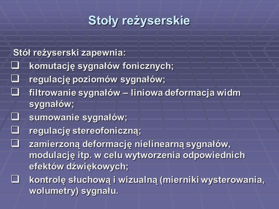 Stoły reżyserskie Stół reżyserski zapewnia: Stół reżyserski zapewnia: komutację sygnałów fonicznych; komutację sygnałów fonicznych; regulację poziomów