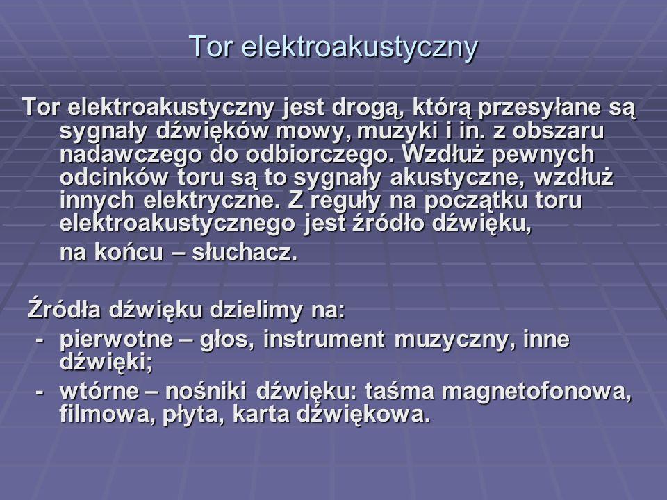 Tor elektroakustyczny Tor elektroakustyczny jest drogą, którą przesyłane są sygnały dźwięków mowy, muzyki i in. z obszaru nadawczego do odbiorczego. W