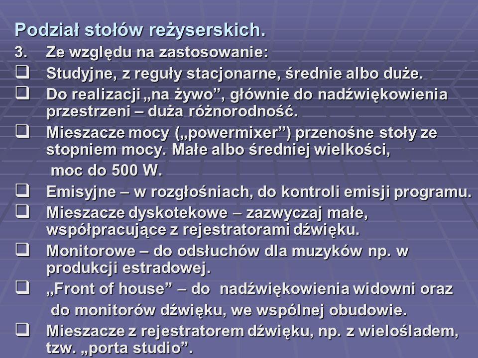Podział stołów reżyserskich.