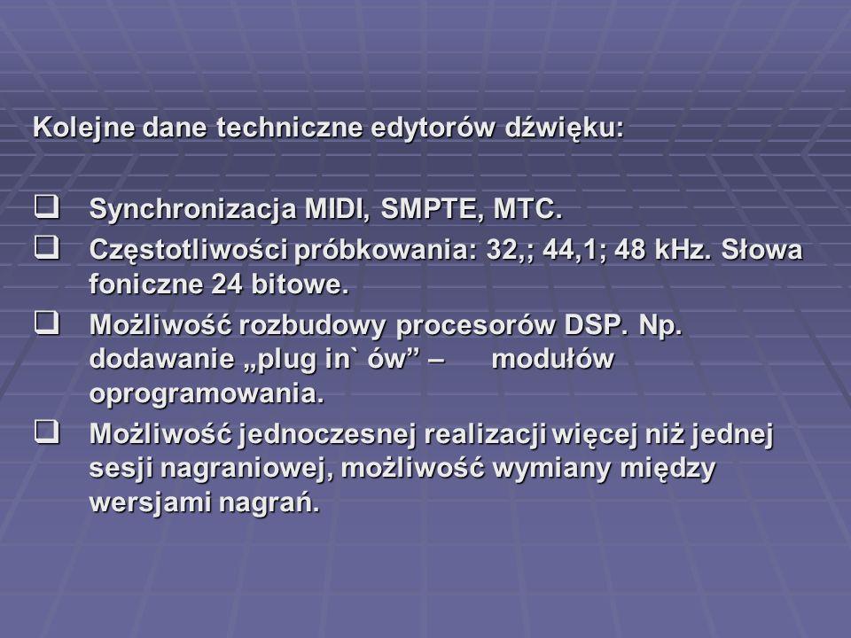 Kolejne dane techniczne edytorów dźwięku: Synchronizacja MIDI, SMPTE, MTC. Synchronizacja MIDI, SMPTE, MTC. Częstotliwości próbkowania: 32,; 44,1; 48