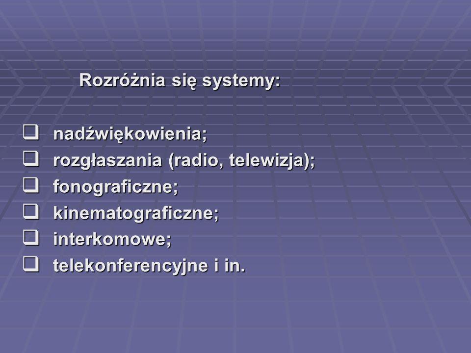 Rozróżnia się systemy: Rozróżnia się systemy: nadźwiękowienia; nadźwiękowienia; rozgłaszania (radio, telewizja); rozgłaszania (radio, telewizja); fonograficzne; fonograficzne; kinematograficzne; kinematograficzne; interkomowe; interkomowe; telekonferencyjne i in.