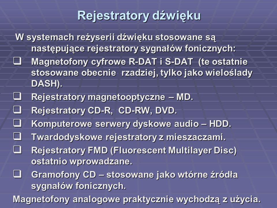 Rejestratory dźwięku Rejestratory dźwięku W systemach reżyserii dźwięku stosowane są następujące rejestratory sygnałów fonicznych: W systemach reżyserii dźwięku stosowane są następujące rejestratory sygnałów fonicznych: Magnetofony cyfrowe R-DAT i S-DAT (te ostatnie stosowane obecnie rzadziej, tylko jako wieloślady DASH).