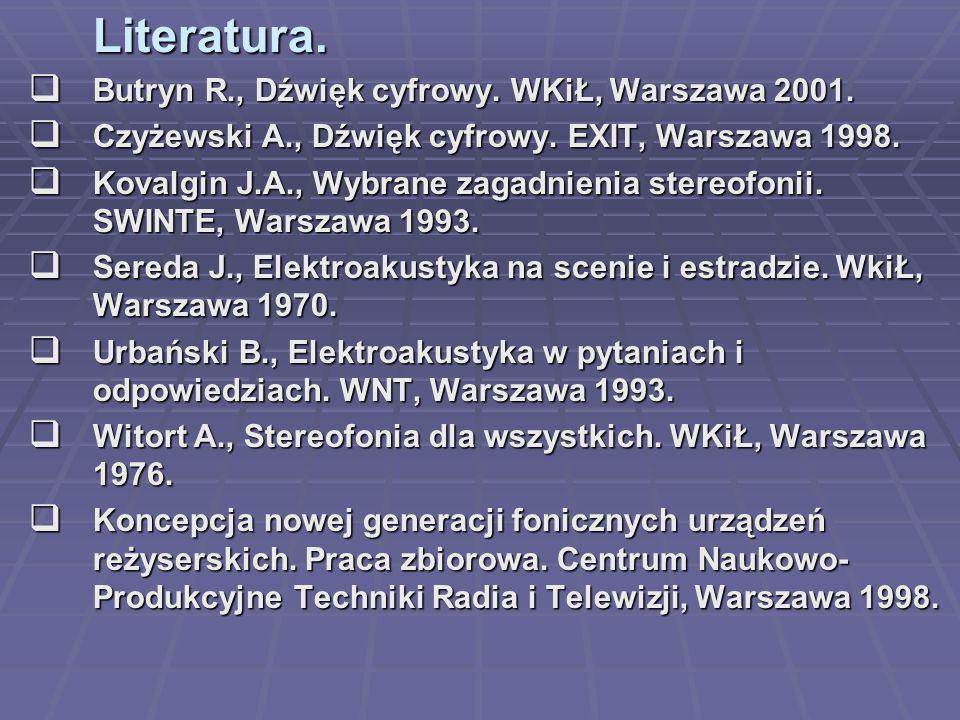 Literatura. Butryn R., Dźwięk cyfrowy. WKiŁ, Warszawa 2001. Butryn R., Dźwięk cyfrowy. WKiŁ, Warszawa 2001. Czyżewski A., Dźwięk cyfrowy. EXIT, Warsza
