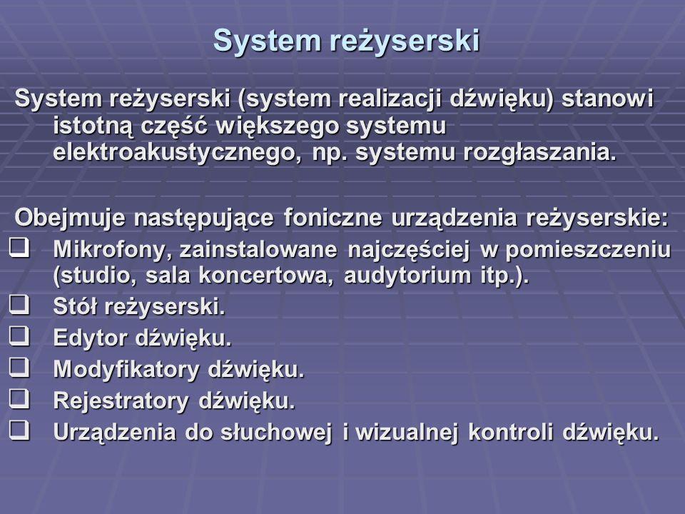 System reżyserski System reżyserski System reżyserski (system realizacji dźwięku) stanowi istotną część większego systemu elektroakustycznego, np. sys