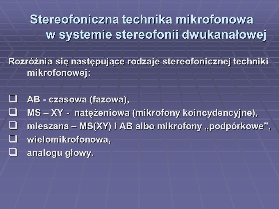 Stereofoniczna technika mikrofonowa w systemie stereofonii dwukanałowej Rozróżnia się następujące rodzaje stereofonicznej techniki mikrofonowej: AB -