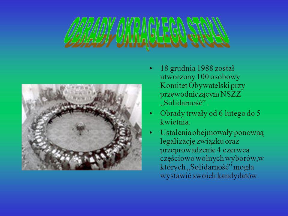 18 grudnia 1988 został utworzony 100 osobowy Komitet Obywatelski przy przewodniczącym NSZZ Solidarność.