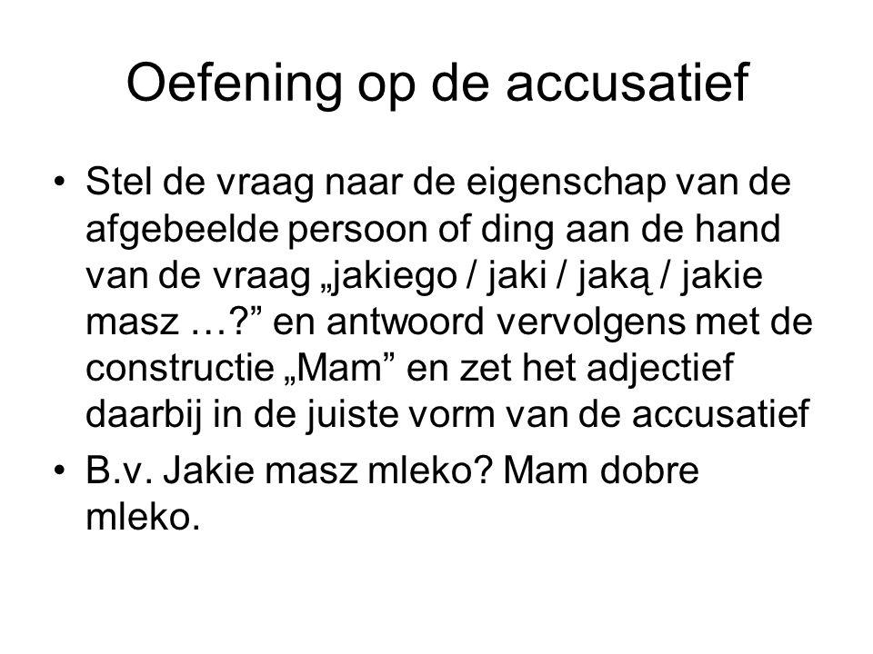 Oefening op de accusatief Stel de vraag naar de eigenschap van de afgebeelde persoon of ding aan de hand van de vraag jakiego / jaki / jaką / jakie masz ….