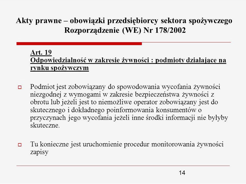 14 Akty prawne – obowiązki przedsiębiorcy sektora spożywczego Rozporządzenie (WE) Nr 178/2002 Art. 19 Odpowiedzialność w zakresie żywności : podmioty
