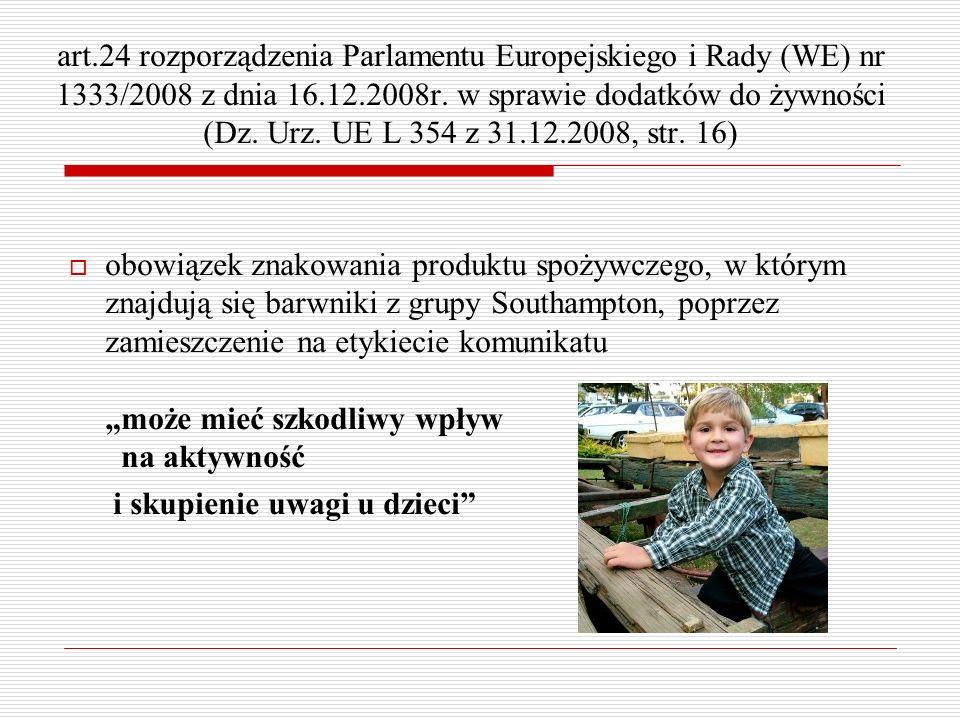 art.24 rozporządzenia Parlamentu Europejskiego i Rady (WE) nr 1333/2008 z dnia 16.12.2008r. w sprawie dodatków do żywności (Dz. Urz. UE L 354 z 31.12.