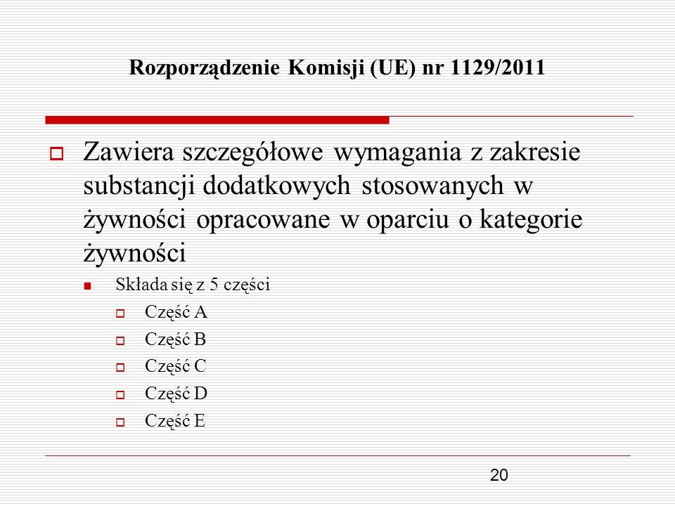20 Rozporządzenie Komisji (UE) nr 1129/2011 Zawiera szczegółowe wymagania z zakresie substancji dodatkowych stosowanych w żywności opracowane w oparci
