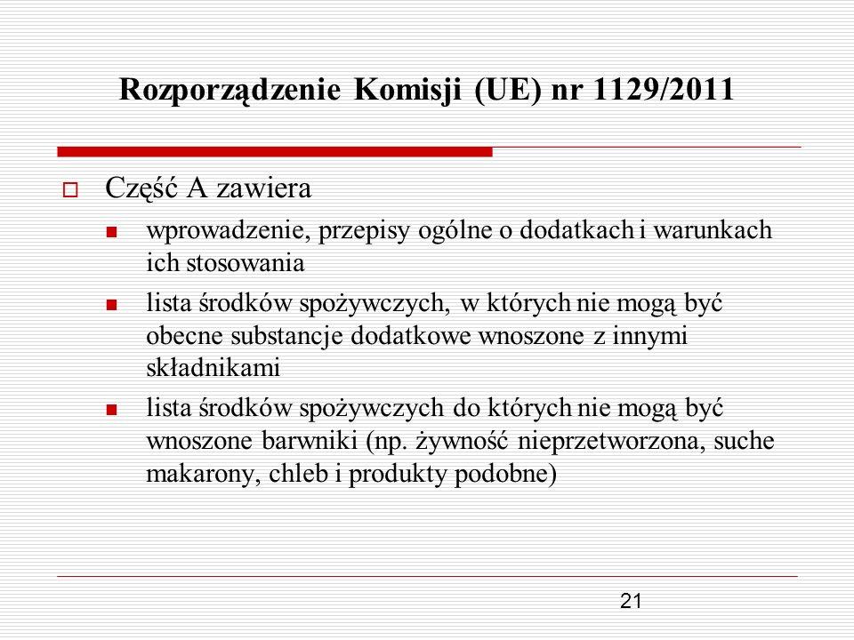 21 Rozporządzenie Komisji (UE) nr 1129/2011 Część A zawiera wprowadzenie, przepisy ogólne o dodatkach i warunkach ich stosowania lista środków spożywc