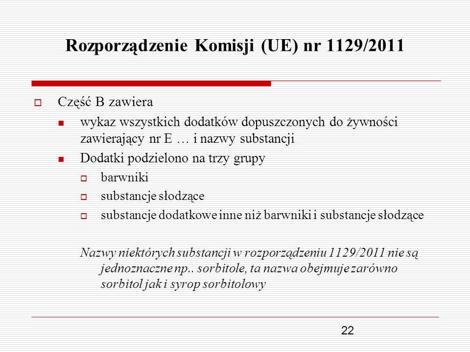 22 Rozporządzenie Komisji (UE) nr 1129/2011 Część B zawiera wykaz wszystkich dodatków dopuszczonych do żywności zawierający nr E … i nazwy substancji