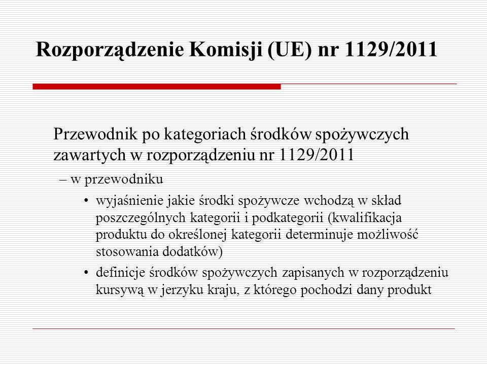 Rozporządzenie Komisji (UE) nr 1129/2011 Przewodnik po kategoriach środków spożywczych zawartych w rozporządzeniu nr 1129/2011 – w przewodniku wyjaśni