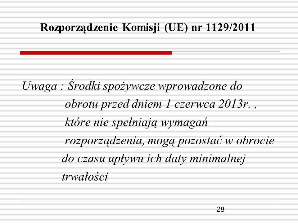 28 Rozporządzenie Komisji (UE) nr 1129/2011 Uwaga : Środki spożywcze wprowadzone do obrotu przed dniem 1 czerwca 2013r., które nie spełniają wymagań r