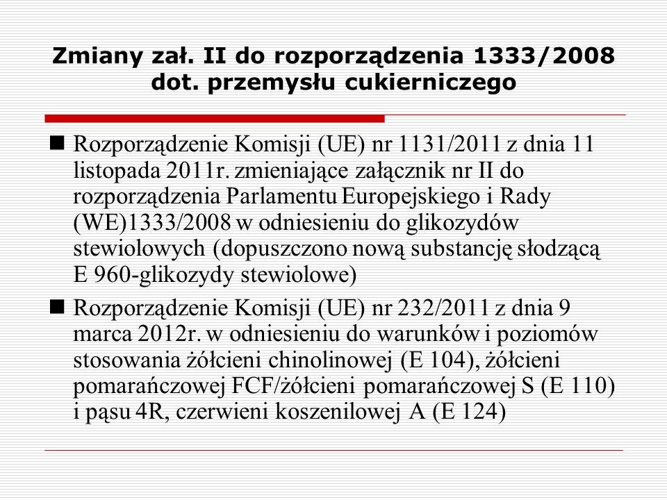 Zmiany zał. II do rozporządzenia 1333/2008 dot. przemysłu cukierniczego Rozporządzenie Komisji (UE) nr 1131/2011 z dnia 11 listopada 2011r. zmieniając