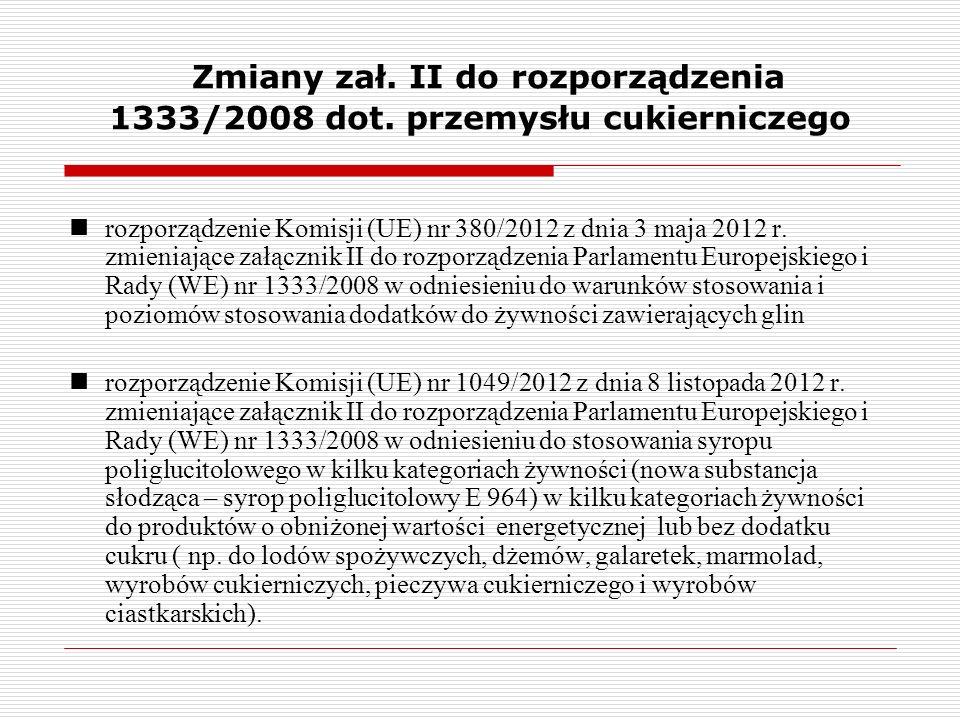 Zmiany zał. II do rozporządzenia 1333/2008 dot. przemysłu cukierniczego rozporządzenie Komisji (UE) nr 380/2012 z dnia 3 maja 2012 r. zmieniające załą