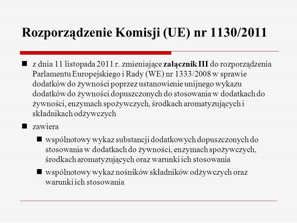 Rozporządzenie Komisji (UE) nr 1130/2011 z dnia 11 listopada 2011 r. zmieniające załącznik III do rozporządzenia Parlamentu Europejskiego i Rady (WE)