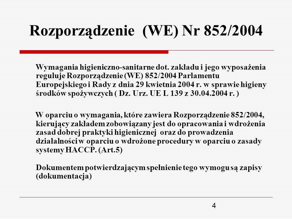 4 Rozporządzenie (WE) Nr 852/2004 Wymagania higieniczno-sanitarne dot. zakładu i jego wyposażenia reguluje Rozporządzenie (WE) 852/2004 Parlamentu Eur