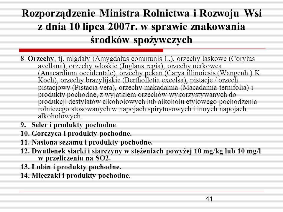 41 Rozporządzenie Ministra Rolnictwa i Rozwoju Wsi z dnia 10 lipca 2007r. w sprawie znakowania środków spożywczych 8. Orzechy, tj. migdały (Amygdalus