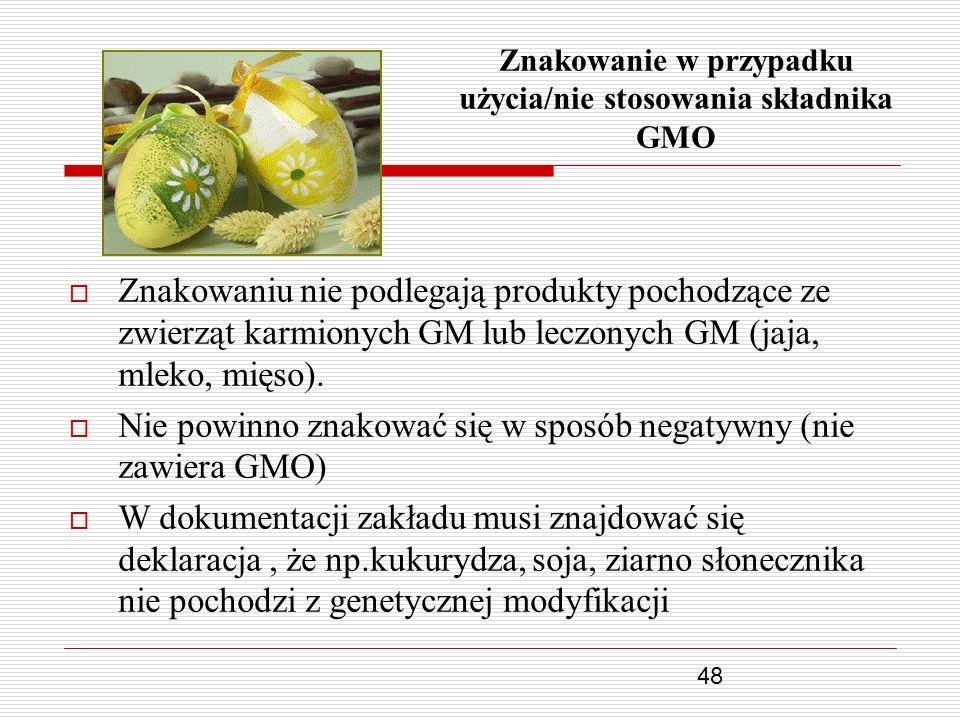 48 Znakowanie w przypadku użycia/nie stosowania składnika GMO Znakowaniu nie podlegają produkty pochodzące ze zwierząt karmionych GM lub leczonych GM