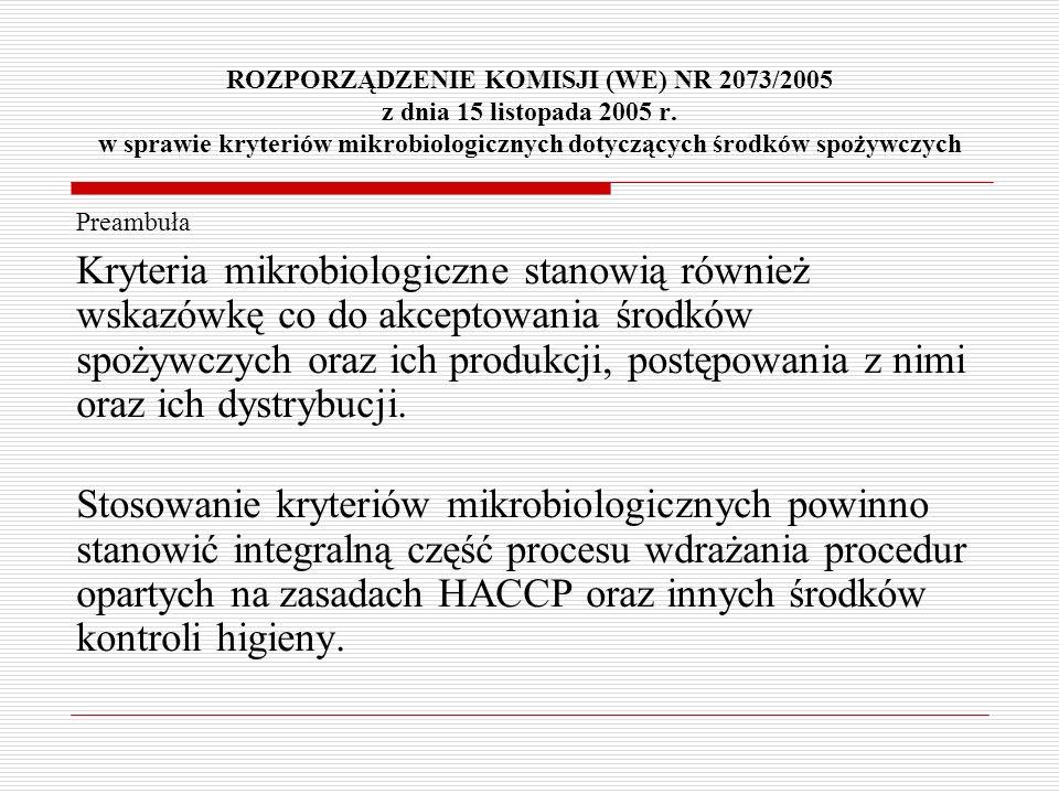 ROZPORZĄDZENIE KOMISJI (WE) NR 2073/2005 z dnia 15 listopada 2005 r. w sprawie kryteriów mikrobiologicznych dotyczących środków spożywczych Preambuła