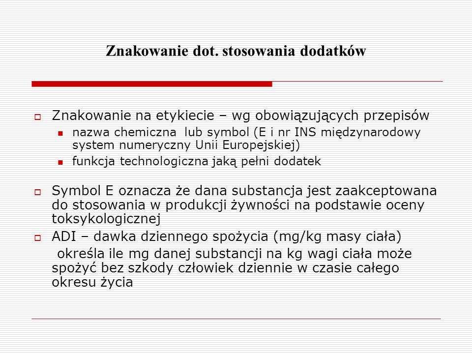 Znakowanie dot. stosowania dodatków Znakowanie na etykiecie – wg obowiązujących przepisów nazwa chemiczna lub symbol (E i nr INS międzynarodowy system