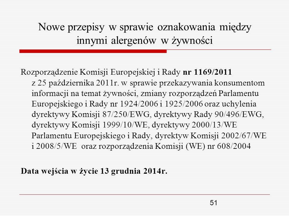 51 Nowe przepisy w sprawie oznakowania między innymi alergenów w żywności Rozporządzenie Komisji Europejskiej i Rady nr 1169/2011 z 25 października 20