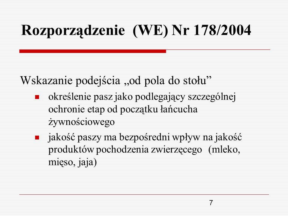 7 Rozporządzenie (WE) Nr 178/2004 Wskazanie podejścia od pola do stołu określenie pasz jako podlegający szczególnej ochronie etap od początku łańcucha