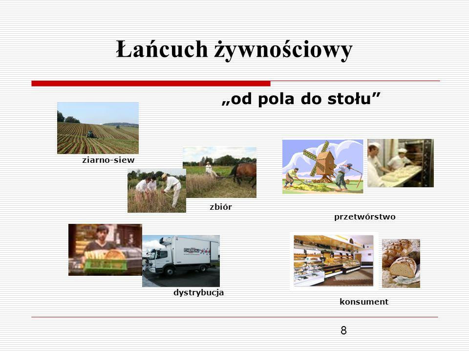 8 Łańcuch żywnościowy od pola do stołu ziarno-siew zbiór przetwórstwo dystrybucja konsument