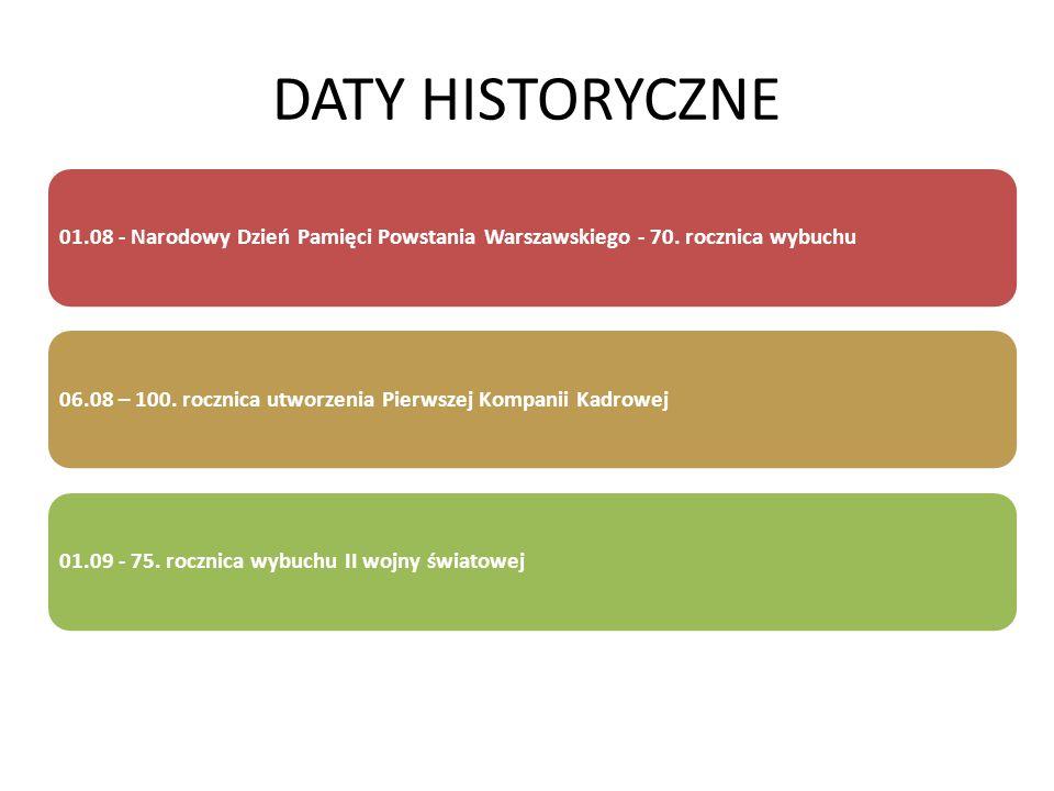 DATY HISTORYCZNE 01.08 - Narodowy Dzień Pamięci Powstania Warszawskiego - 70. rocznica wybuchu06.08 – 100. rocznica utworzenia Pierwszej Kompanii Kadr