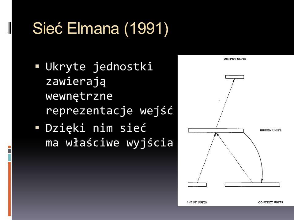 Sieć Elmana (1991) Ukryte jednostki zawierają wewnętrzne reprezentacje wejść Dzięki nim sieć ma właściwe wyjścia