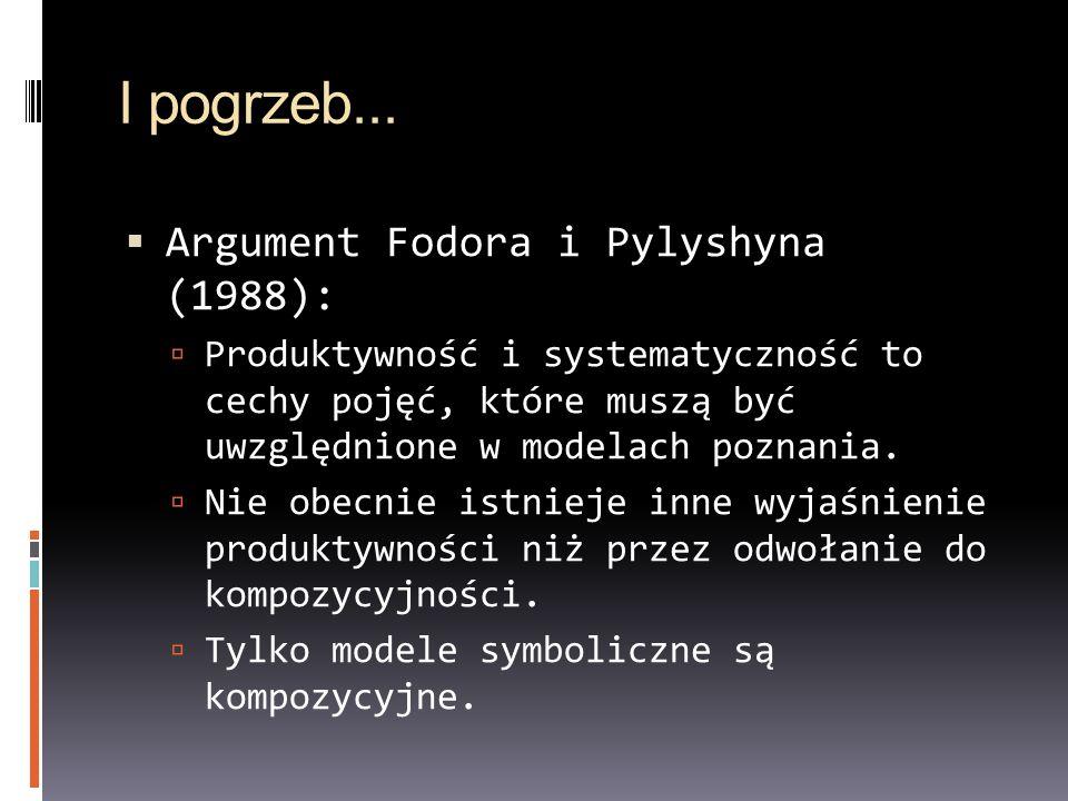I pogrzeb... Argument Fodora i Pylyshyna (1988): Produktywność i systematyczność to cechy pojęć, które muszą być uwzględnione w modelach poznania. Nie