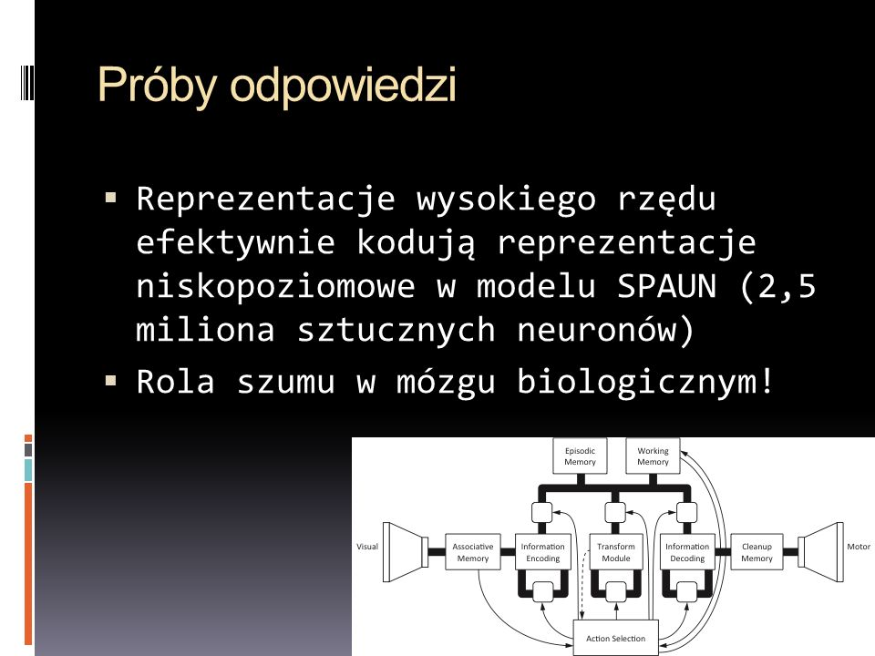 Próby odpowiedzi Reprezentacje wysokiego rzędu efektywnie kodują reprezentacje niskopoziomowe w modelu SPAUN (2,5 miliona sztucznych neuronów) Rola sz