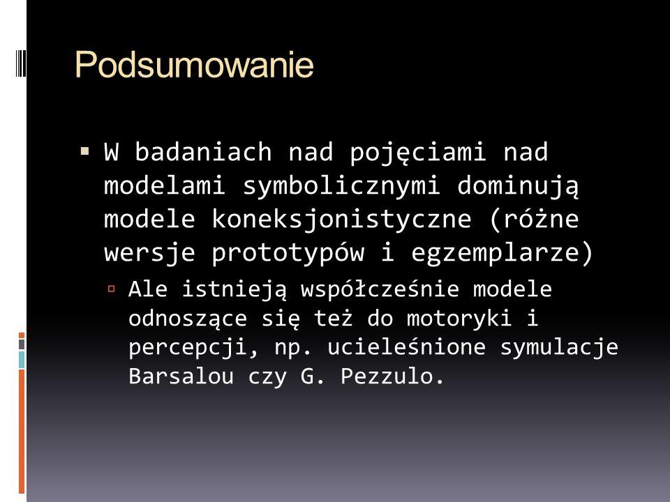 Podsumowanie W badaniach nad pojęciami nad modelami symbolicznymi dominują modele koneksjonistyczne (różne wersje prototypów i egzemplarze) Ale istnie