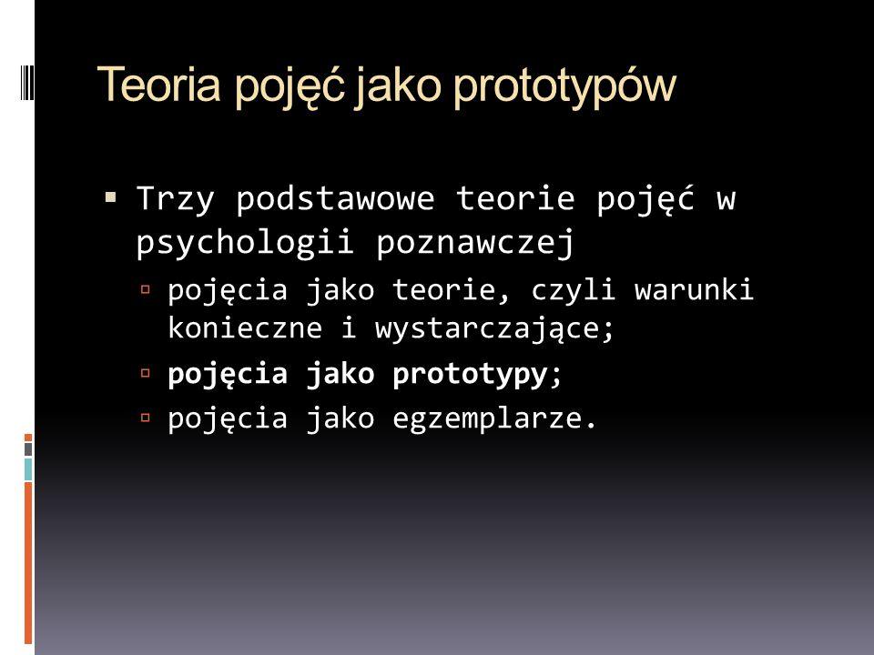 Teoria pojęć jako prototypów Trzy podstawowe teorie pojęć w psychologii poznawczej pojęcia jako teorie, czyli warunki konieczne i wystarczające; pojęc