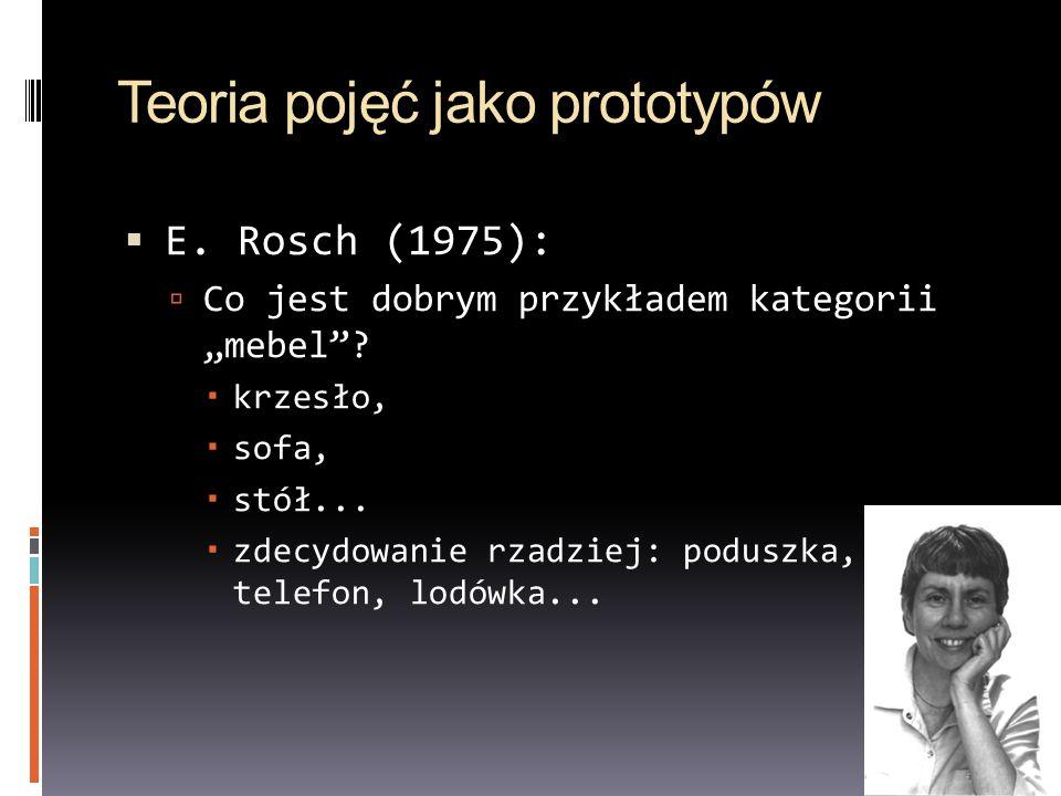Teoria pojęć jako prototypów E. Rosch (1975): Co jest dobrym przykładem kategorii mebel? krzesło, sofa, stół... zdecydowanie rzadziej: poduszka, telef