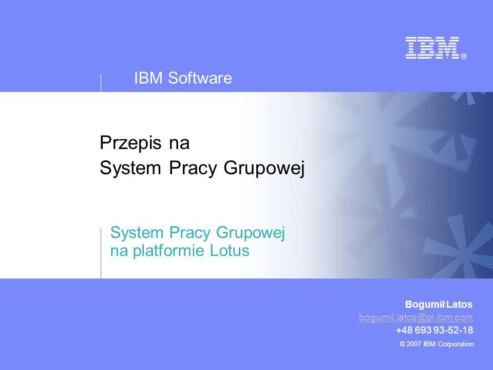 IBM Software © 2007 IBM Corporation 2 Przepis na system pracy grupowej Plan Wyzwania Szef Kuchni poleca –Główne składniki –Przyprawy –Dodatki –Sposób przygotowania Wybrane korzyści