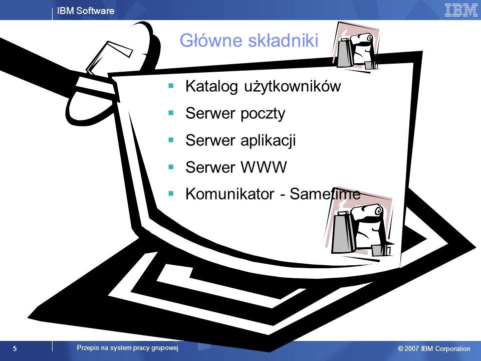 IBM Software © 2007 IBM Corporation 5 Przepis na system pracy grupowej Główne składniki Katalog użytkowników Serwer poczty Serwer aplikacji Serwer WWW Komunikator - Sametime