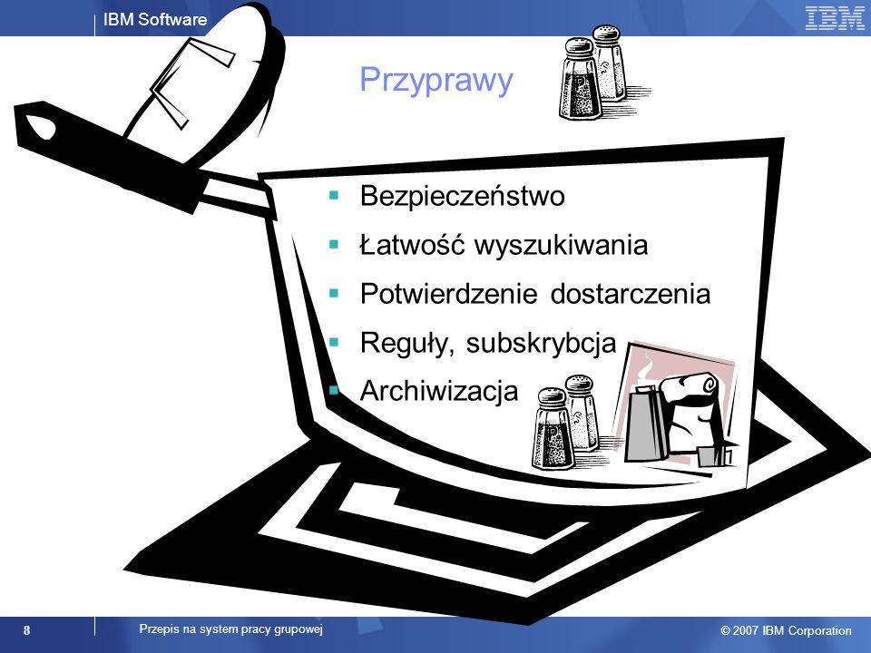 IBM Software © 2007 IBM Corporation 9 Przepis na system pracy grupowej