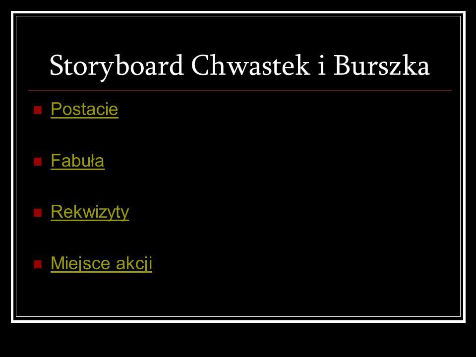 Storyboard Chwastek i Burszka Postacie Fabuła Rekwizyty Miejsce akcji