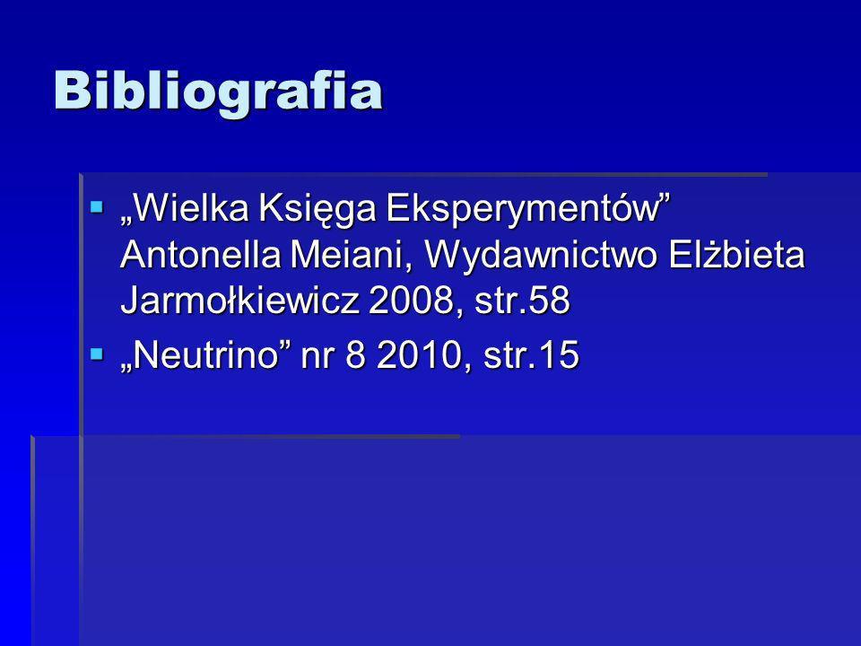 Bibliografia Wielka Księga Eksperymentów Antonella Meiani, Wydawnictwo Elżbieta Jarmołkiewicz 2008, str.58 Wielka Księga Eksperymentów Antonella Meiani, Wydawnictwo Elżbieta Jarmołkiewicz 2008, str.58 Neutrino nr 8 2010, str.15 Neutrino nr 8 2010, str.15