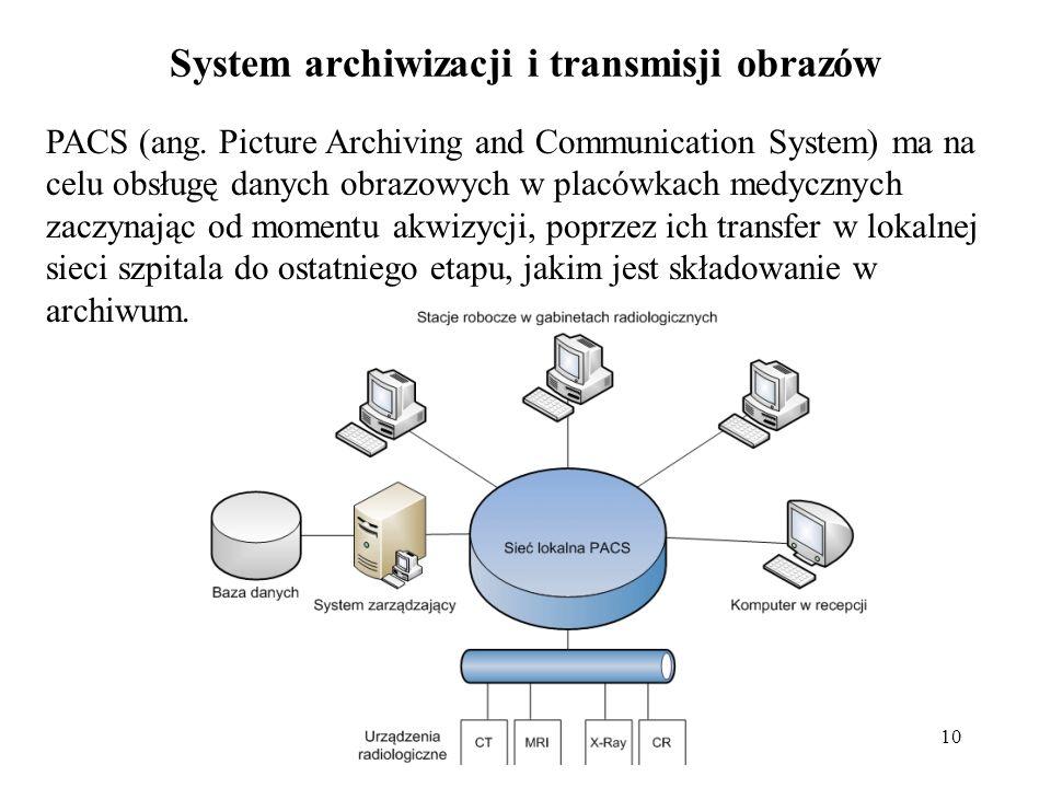10 System archiwizacji i transmisji obrazów PACS (ang. Picture Archiving and Communication System) ma na celu obsługę danych obrazowych w placówkach m