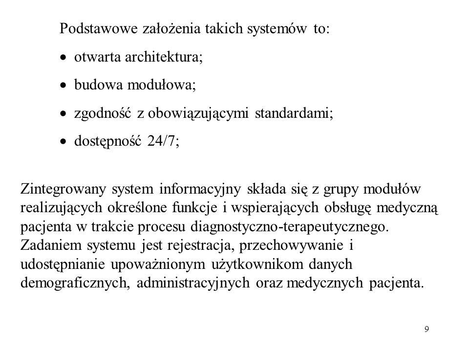 9 Podstawowe założenia takich systemów to: otwarta architektura; budowa modułowa; zgodność z obowiązującymi standardami; dostępność 24/7; Zintegrowany